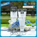2015 whole sale Personalized champagne glass and champagne flute glassware wedding gift glassware hot sale high quanlity goblet