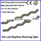 Top Selling 24V Daylight COB Car LED DRL 100% Waterproof Bumper Decorative Sticker Daytime Running Light