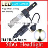 H4 LED Headlight Bulbs Conversion Kit with Flexible Tinned Copper Braid