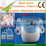 Professional dual wave Japan technology 12 paddles 176pcs diodes fat removal body shape lipo laser machine