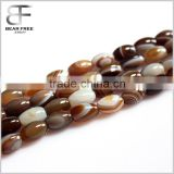 Factory low price wholesale Natural barrel Drum beads semi-precious gemstone Sardonyx Coffee Striped Agate