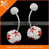 Star Stone on Crystal Ball Stainless Steel Belly Button Navel Rings Body Piercing Jewelry