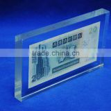 customized clear glass acrylic paperweight with banknote