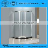 NICE PRICE 1/4 CIRCLE Shape SIMPLE SAFETY TOUGHED GLASS SHOWER BOX with Hardware Accessories