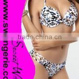 Wrinkle Pushed-Up Padded Bikini with Hollow-Out Panty Sexy Fashion Modern Bikini Swimwear NA96-leopard
