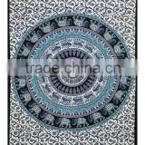 Tapestry Elephant Mandala Throw Indian Cotton Twin Bedspread Home Furnishing Decorative Dorm Bed Cover Supplier