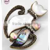 Burnished Gold Tone / White & Green Abalone Shell / Lead&nickel Compliant / Animal / Cat Brooch
