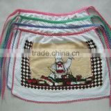 cotton polyester terry towel fabric pigment printing apron with check border