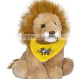 custom logo imprinted embroidery plush stuffed soft baby lion beanbag mascot t-shirt bandana bib tie ribbon animal toys