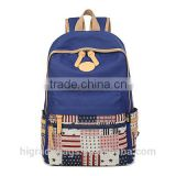 canvas school backpack bag with leather trim