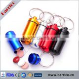 wholesale aluminum alloy colorful promotional pill container keychain