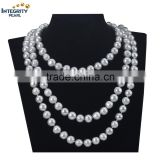 11-12mm potato 47inch white freshwater wedding natural long pearl necklace