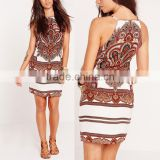 Pakistan style woman ethnic baroque print apron halter sleeveless mini dress