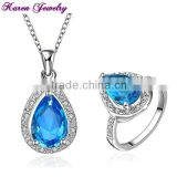 New Big Sapphire Blue Zircon Crystal Necklace Ring Jewelry Set Wedding Jewelry Sets for Women Platinum Plated CZ Diamond Jewelry