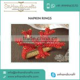 New Attractive SnowFlake Design Napkin Ring with Beaded Coral Structure