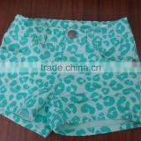 Womens cotton spandex twill green printing Ultra Stretch Fitted Low Rise Moleton Denim Booty Shorts