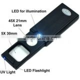 2013 New Mini Illuminated 5X - 45X Jewelers Loupe 30 21mm Magnifier with LED & UV Lights