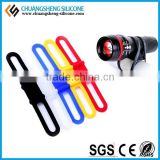 Cycling Bike Bicycle Silicone Band Flash Light Flashlight Phone Strap Tie Ribbon Mount Holder