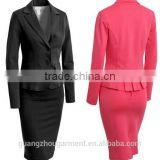 2014 ladies long sleeve blazer and skirt set, women business suits