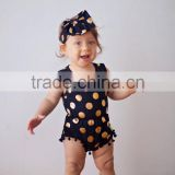 Black and Gold polka Dots Pom Pom Romper Jumpsuit baby girl clothes outfit with bow headband