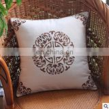 Cotton linen cushion cover ,white embroider sofa pillow cover,decorate car and home fabric textile cushion cover