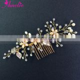 Beaded Flower and Rhinestone Wedding Bridal Hair Comb Gold Comb Wedding Jewelry Sets Bridal Side Comb
