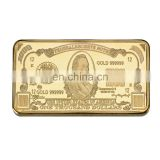 WR 24k Gold Bar Collectible 1000 Dollar Gold Plated Souvenir Bar American Currency Bill Note Art Crafts Wtih Plastic Case