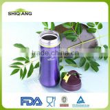 350ml china suppliers portative colored heat resistant stainless steel sports water bottle with filter and carabiner