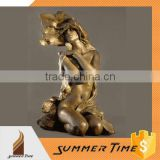 Nude woman in the wind bronze sculpture