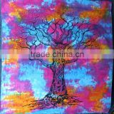 Queen Size Big Tie & Dye Tree Cotton Wall Hanging Custom printed Tapestry Indian Bed Sheets