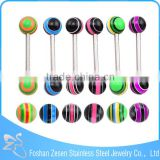Colorful Double Resin Balls Tongue Piercing Tongue Ring With Balls