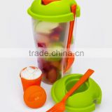 fruit salad cups fruit salad container PP salad to go with fork food container wholesale