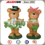 "6.9"" polyresin bear figurines with shamrock for ireland souvenir"