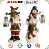 "19.7"" small fiberglass holding led lantern snowman on big snowman shoulder statue for Christmas decoration                                                                         Quality Choice"
