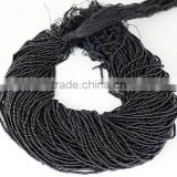 "20 Strands Black Spinel Glass Seed Beads Gemstone Rondelle 2-2.5mm 12.5"" long Strand,Jewelry Making Hydro Beads Strand"