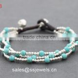 New Design Silver Copper Beads Multi-layer Turquoise Bracelets With Brass Bell Closure Vogue Jewellry Wholesale