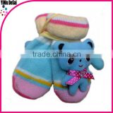 2015 new product fashion hot sales good quality cute warm winter bear child Wholesale knit mittens
