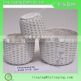 white set of 3 wicker vase/willow planted pots /wicker plant baskets