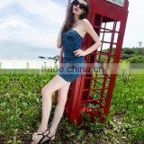 ladies latest smart denim slim one piece casual dress pictures