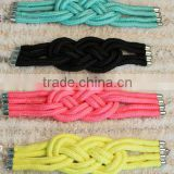 Wholesale Star style colorful braided cotton bracelets stainless steel hoop clasp for men's women's unisex jewellery accesories