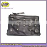Promotional PU Genuine Leather Wallet with Skull Studs Factory