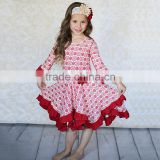 Hot sale good quality red rose flower dress beautiful party dress baby birthday dress oem children ruffle dress
