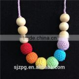Teething colorful wood beads Necklace Breastfeeding Crochet Necklace