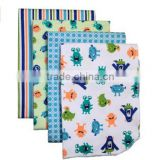 4 Piece 100% Cotton Flannel Receiving Baby Blankets--Monster