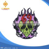 Cheapest custom colorful design embroidery skull and number patch