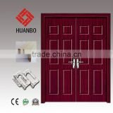 2015 Wholesale mdf pvc wood double door solid wooden exterior decorative doors with hinges,locks