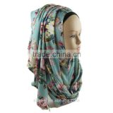 latest design cotton jersey floral printed scarf muslim hijab