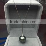 wholesale 10mm round tahitian peacock green pearls pendant necklace