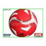 Matt Surface Synthetic Leather Soccer Ball Red and White , Passed EN71 And 6P Lab Test