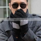 Wholesale winter warm fur lining mens leather gloves